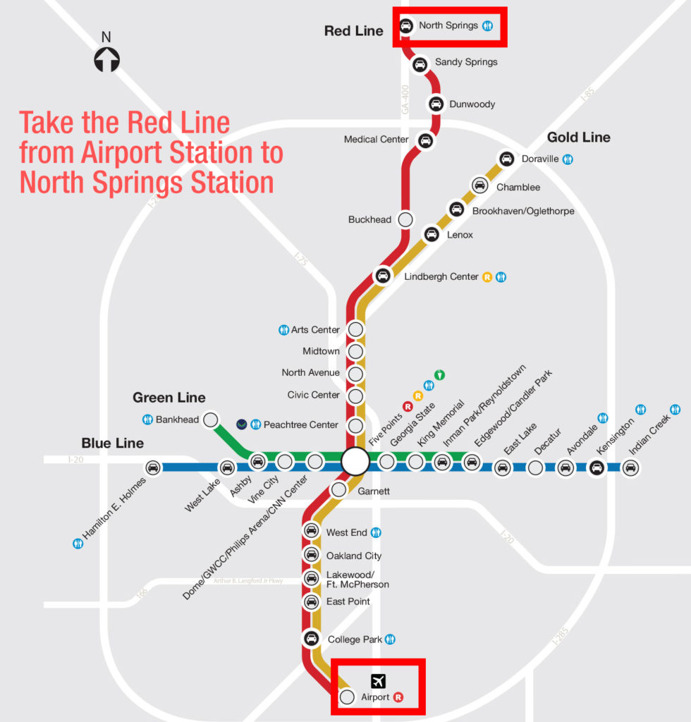 your destination is north springs station so if you got on the red lineyou can't miss it here is a map. how to get to the hotel from the airport – nate hanson and alexis