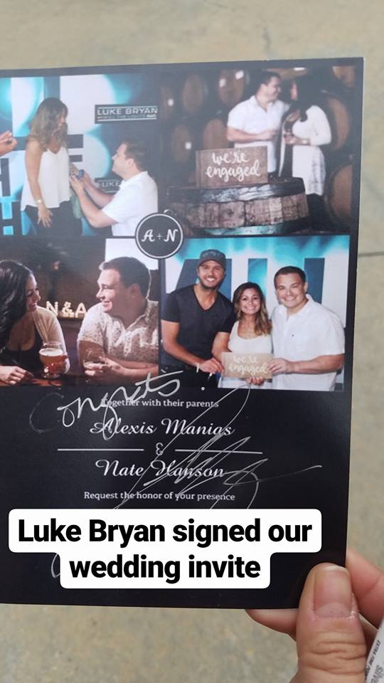 We invited luke bryan to the wedding nate hanson and alexis manias we brought a special wedding invite to sign and we were able to invite him and his wife to the wedding so fingers crossed hell come or at least send us m4hsunfo